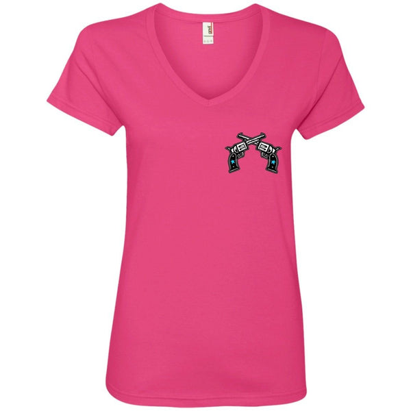T-Shirts - Lady To Crazy Womens V-Neck Tee