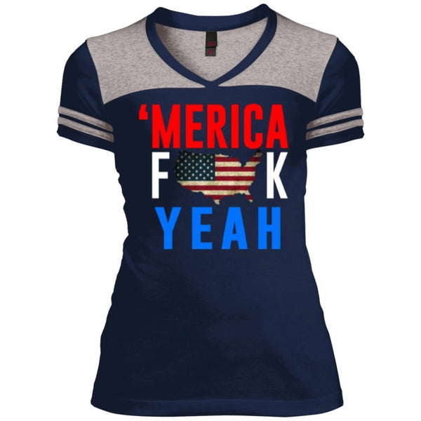 T-Shirts - MERICA Fuck Yea Juniors Varsity V-Neck Tee