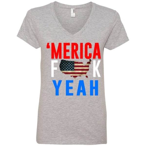 T-Shirts - Merica Fuck Yea Ladies' V-Neck Tee