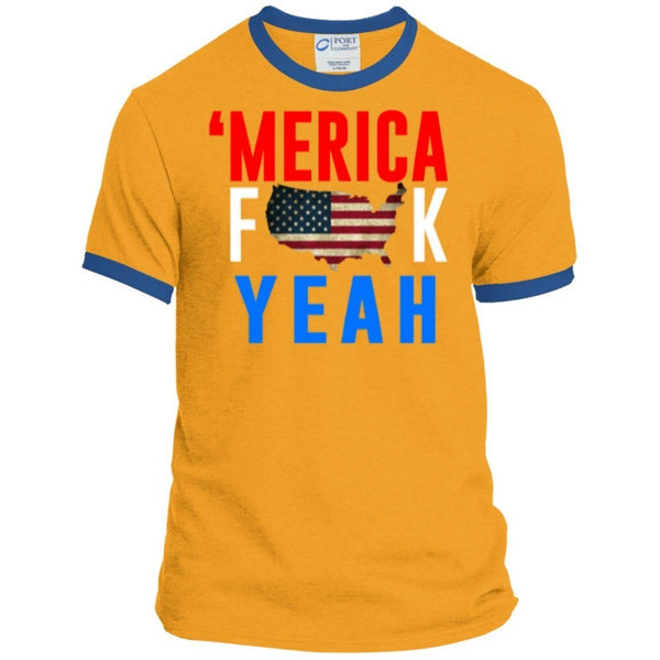 T-Shirts - Merica Fuck Yea Personalized Ringer Tee