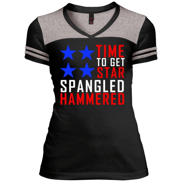 T-Shirts - Time To Get Star Spangled Juniors Varsity V-Neck Tee