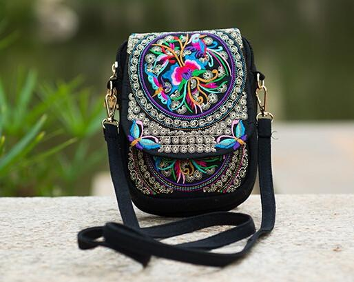Boho Vintage Style Embroidered Canvas Shoulder Bag