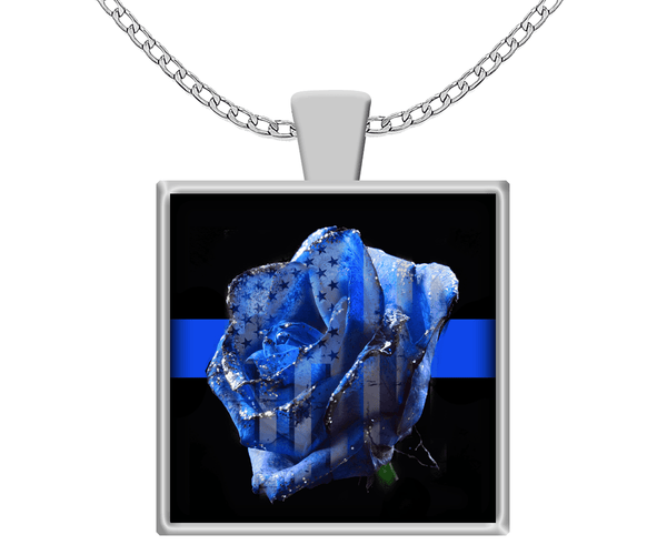 Blue Line Rose American Necklace