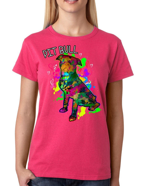 Womens Tshirt - PIT BULL ART WOMENS T-SHIRT