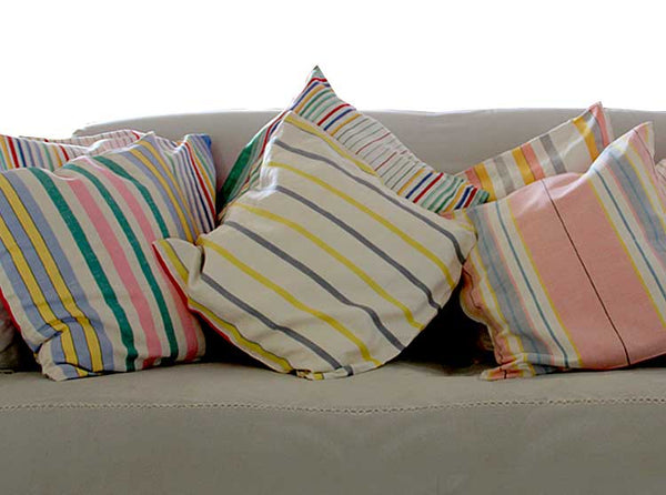 Striped linen vintage teatowel cushion covers