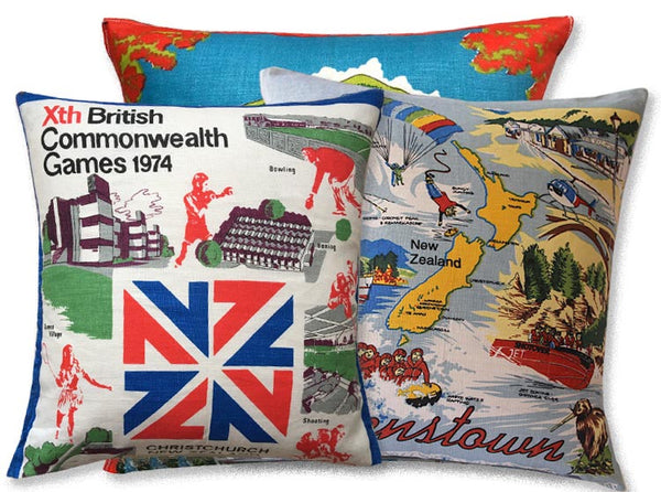 New Zealand vintage linen teatowel cushion covers