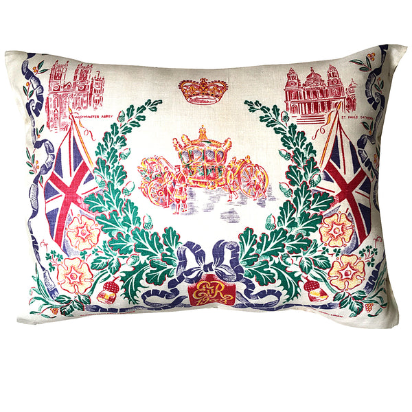 1953 ER coronation teatowel cushion cover