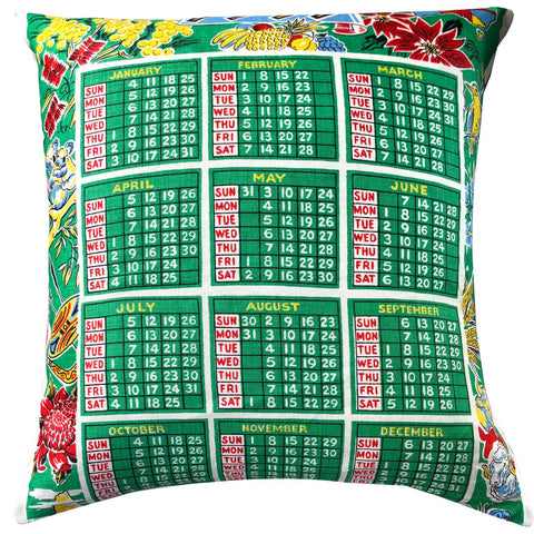 1959 original linen calendar teatowel cushion cover