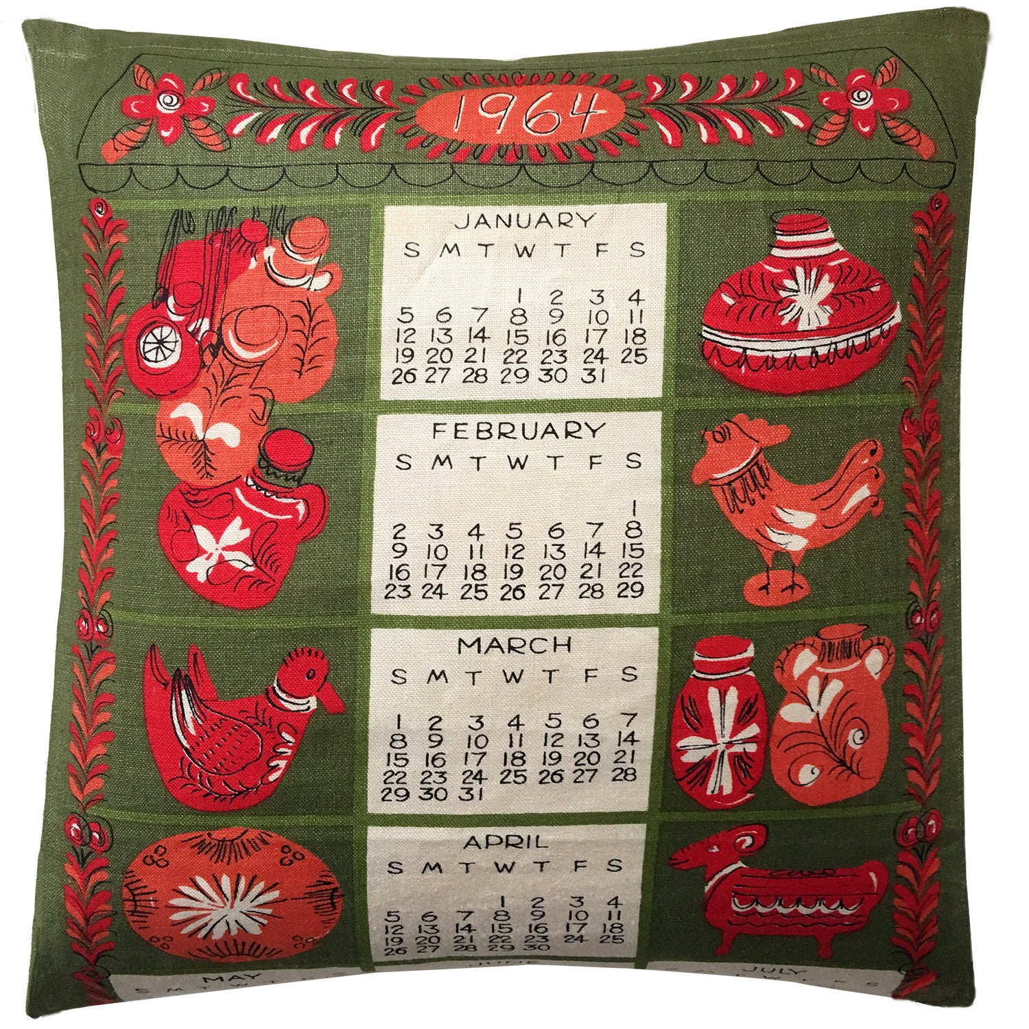 1964 Vera Neumann illustrated teatowel cushion cover