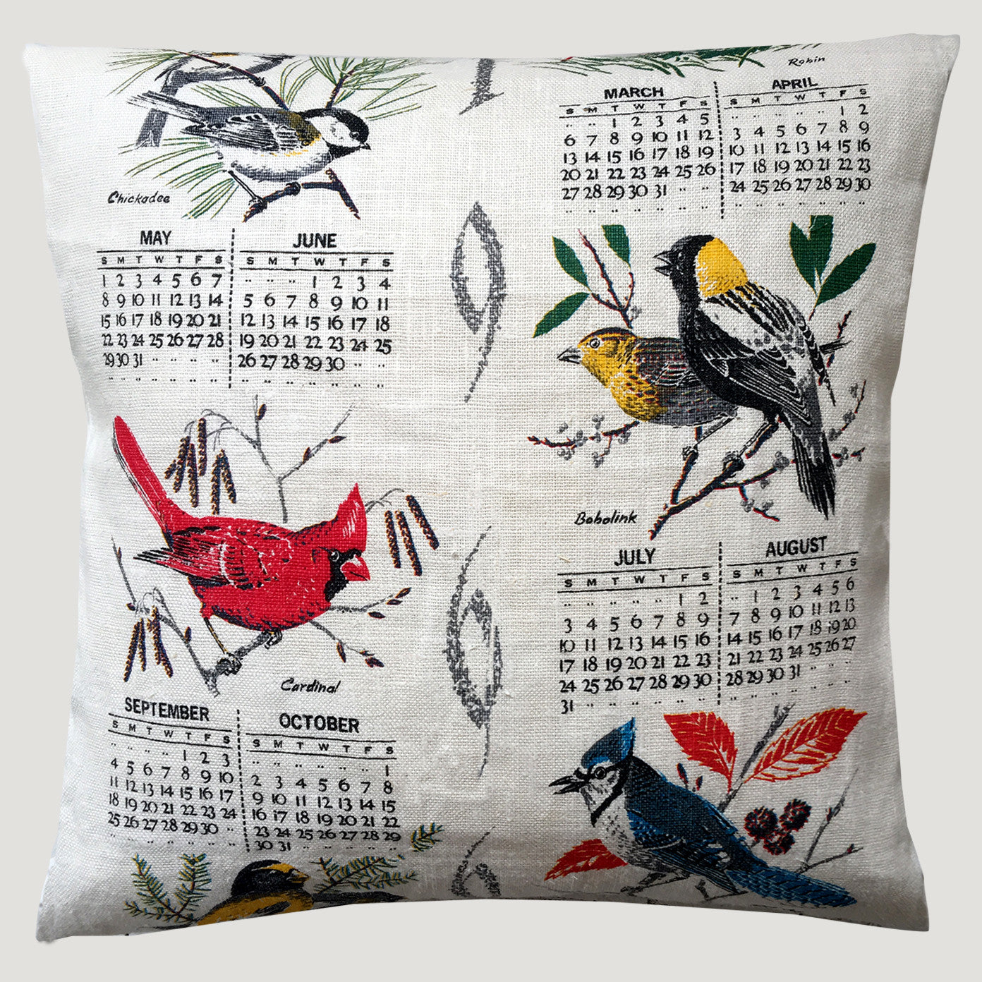 1966 Birds Calendar teatowel cushion cover