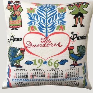 1966 calendar teatowel cushion cover