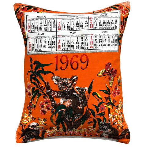 1969 calendar teatowel cushion cover in cotton