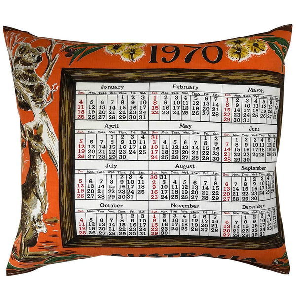 1970 cotton teatowel calendar cushion cover