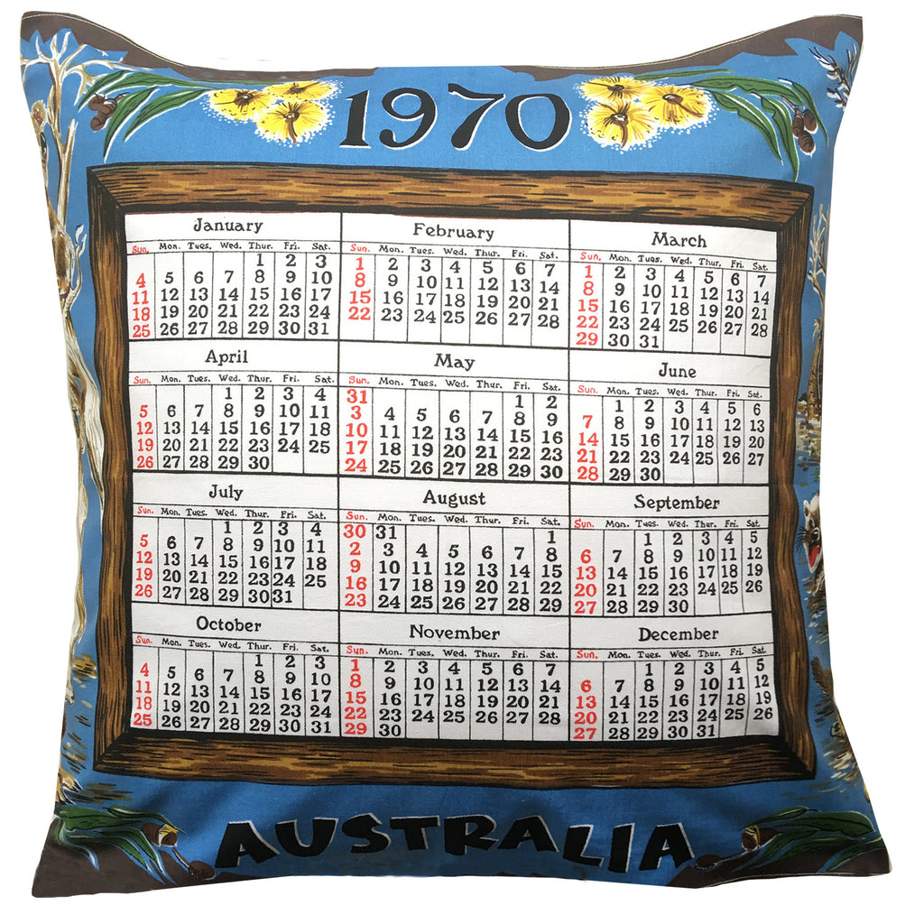 1970 blue cotton teatowel calendar cushion