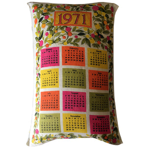 1971 calendar teatowel cushion cover