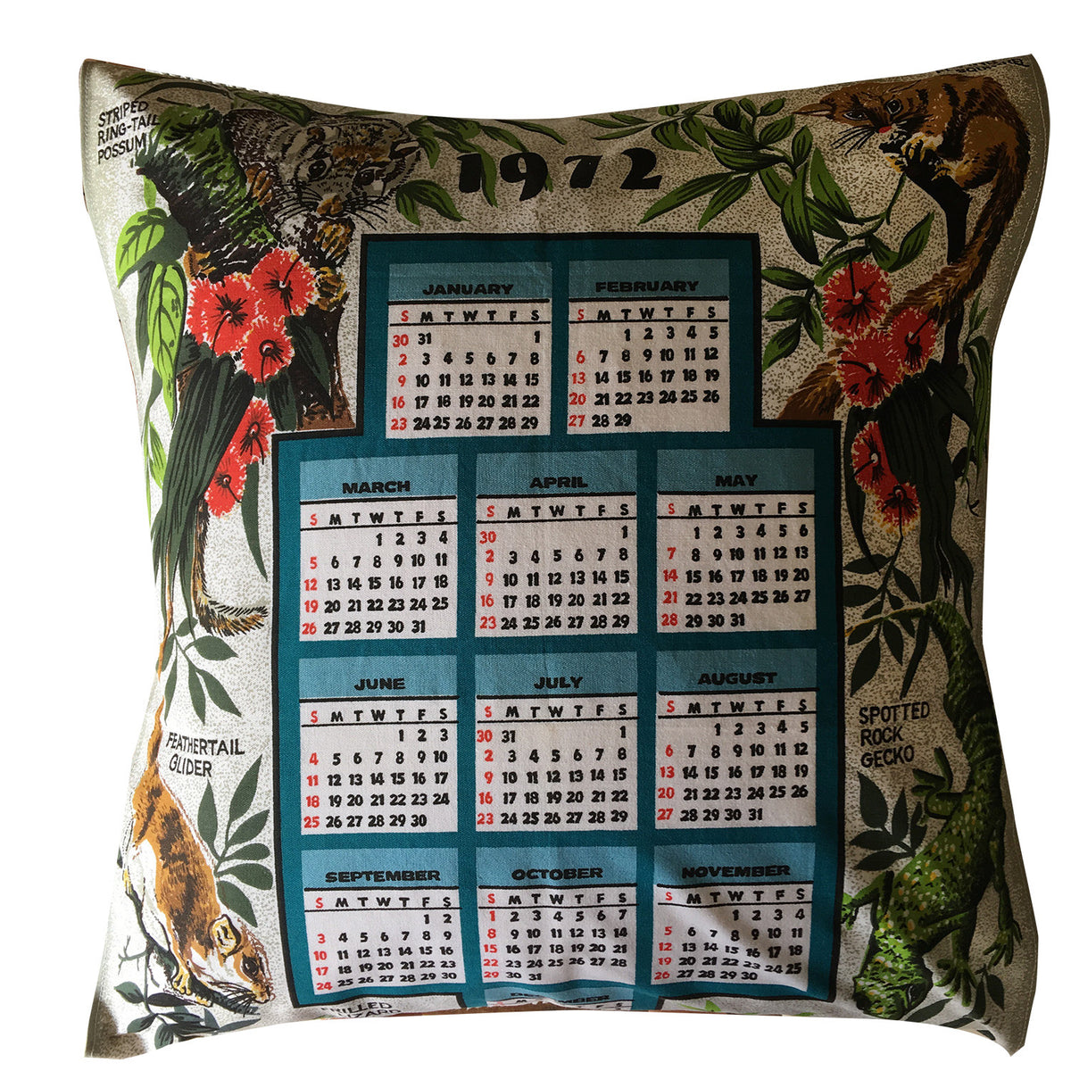 1972 Calendar Teatowel Cushion Cover Loveandwest