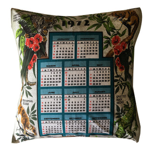 1972 calendar teatowel cushion cover