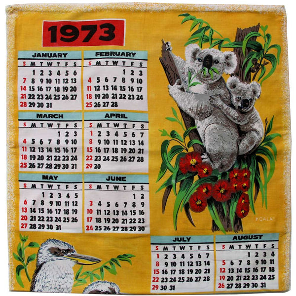 Love And West 1973 calendar teatowel cushion cover