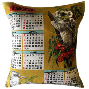 1973 calendar teatowel cushion cover