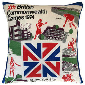 1974 Christchurch commonwealth Games vintage linen teatowel cushion cover