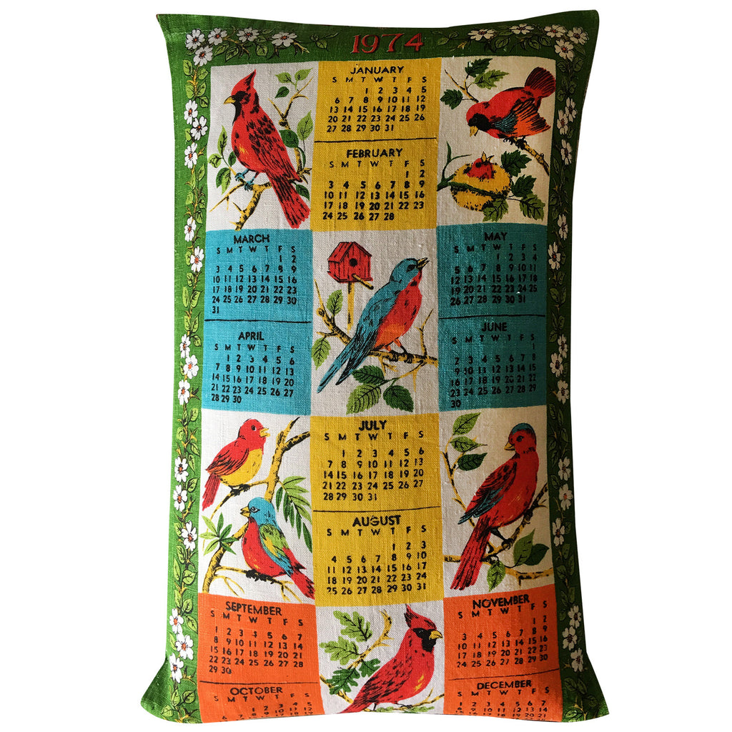 1974 birdie Calendar teatowel cushion cover