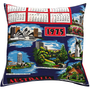 1975 vintage cotton teatowel cushion cover