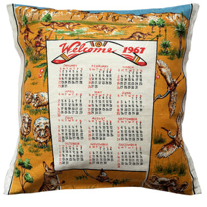 1967 Calendar teatowel cushion cover