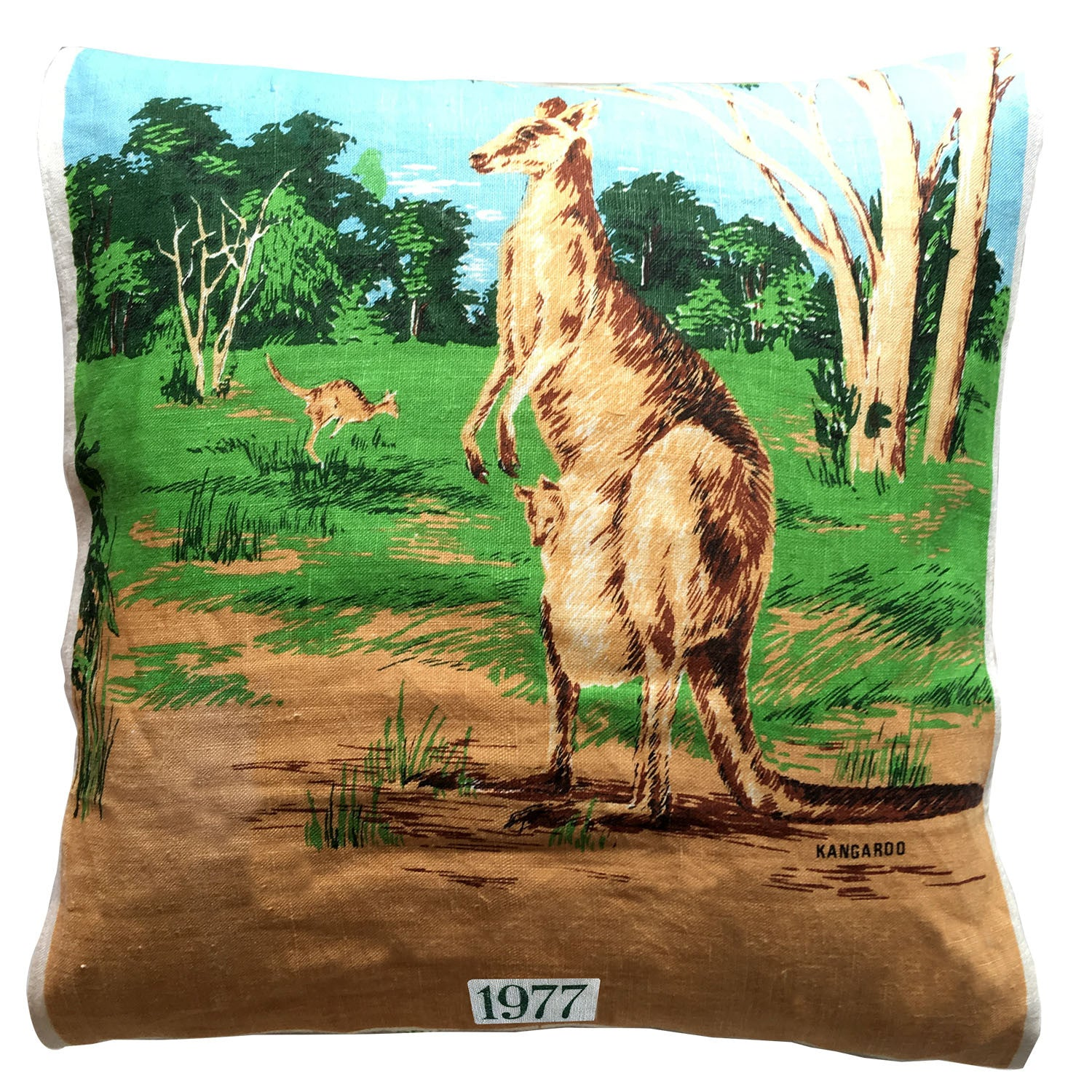 1977 calendar teatowel cushion cover