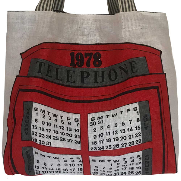 1978 calendar Red phone box teatowel tote