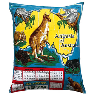 1979 calendar teatowel cushion cover in cotton