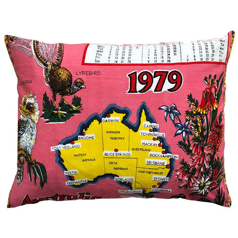 1979 cotton calendar teatowel cushion cover take 2