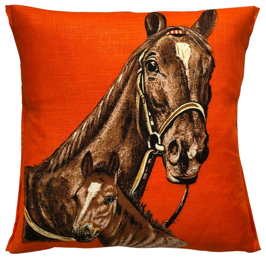 1979 calendar teatowel cushion cover with horse portrait