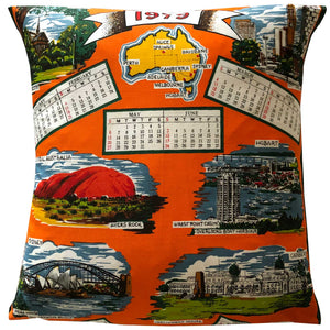 1979 teatowel cushion cover with Australian landmarks