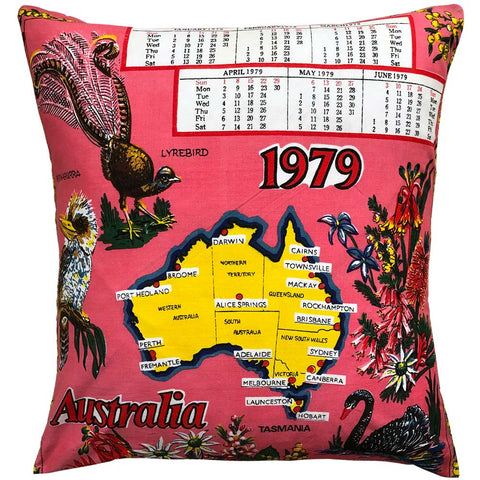 1979 cotton calendar teatowel cushion cover