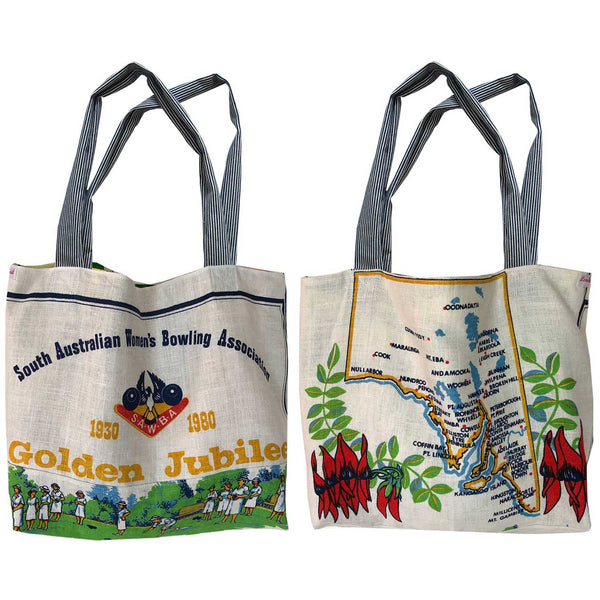 South Australian Women's Bowling Association Golden Jubilee teatowel tote