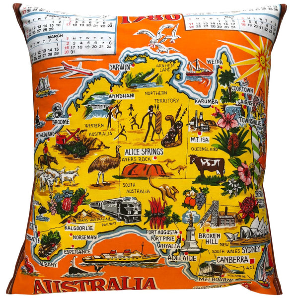 1980 orange vintage cotton teatowel cushion cover