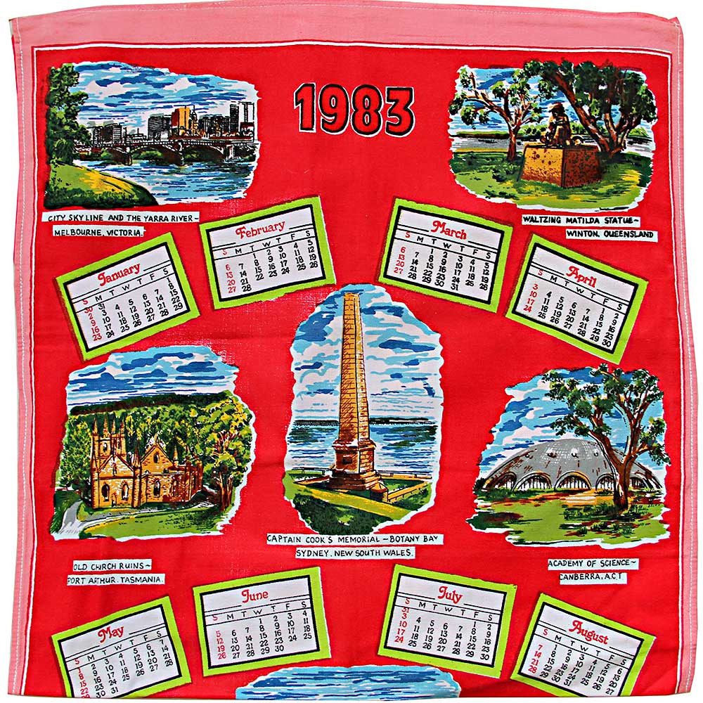 1983 calendar teatowel cushion cover