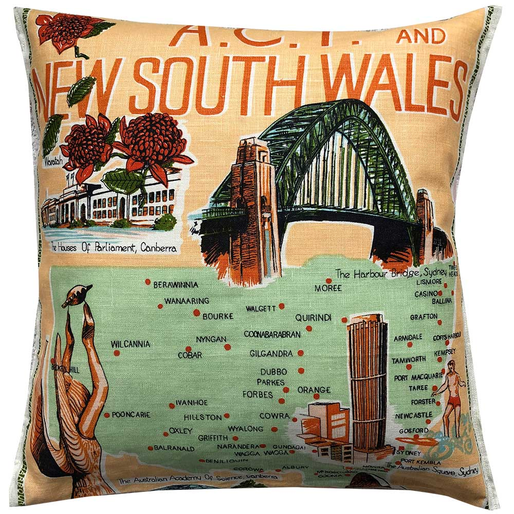 NSW and ACT map and landmarks cushion cover