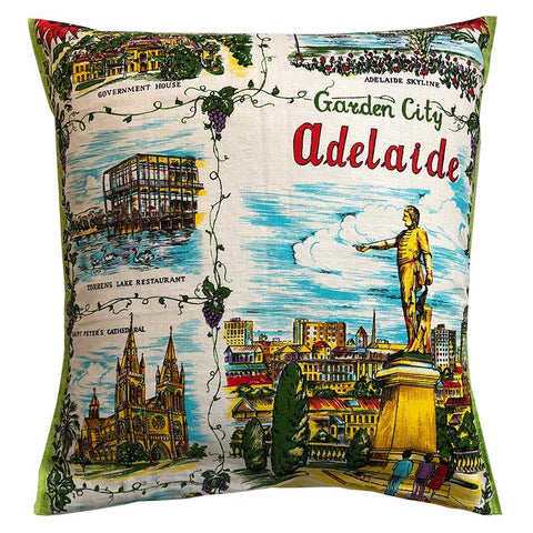 Adelaide the Garden City vintage souvenir cushion cover