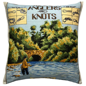 Anglers Knots vintage fishing teatowel cushion cover