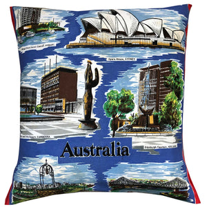 Australia on a Tea Towel on a cushion cover on your couch