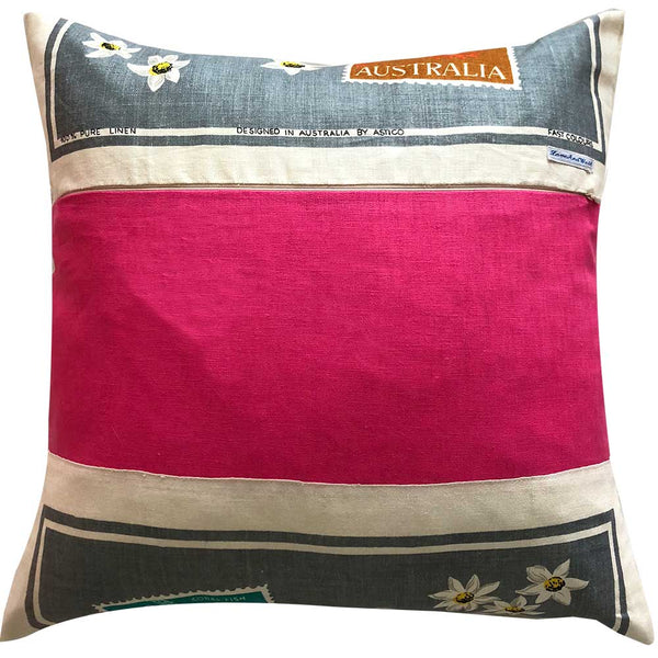 Australian stamps linen teatowel cushion cover
