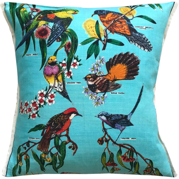 Birds of Australia teatowel cushion cover