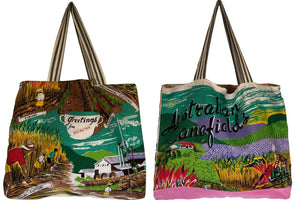 Queensland Canefields repurposed teatowel tote bag