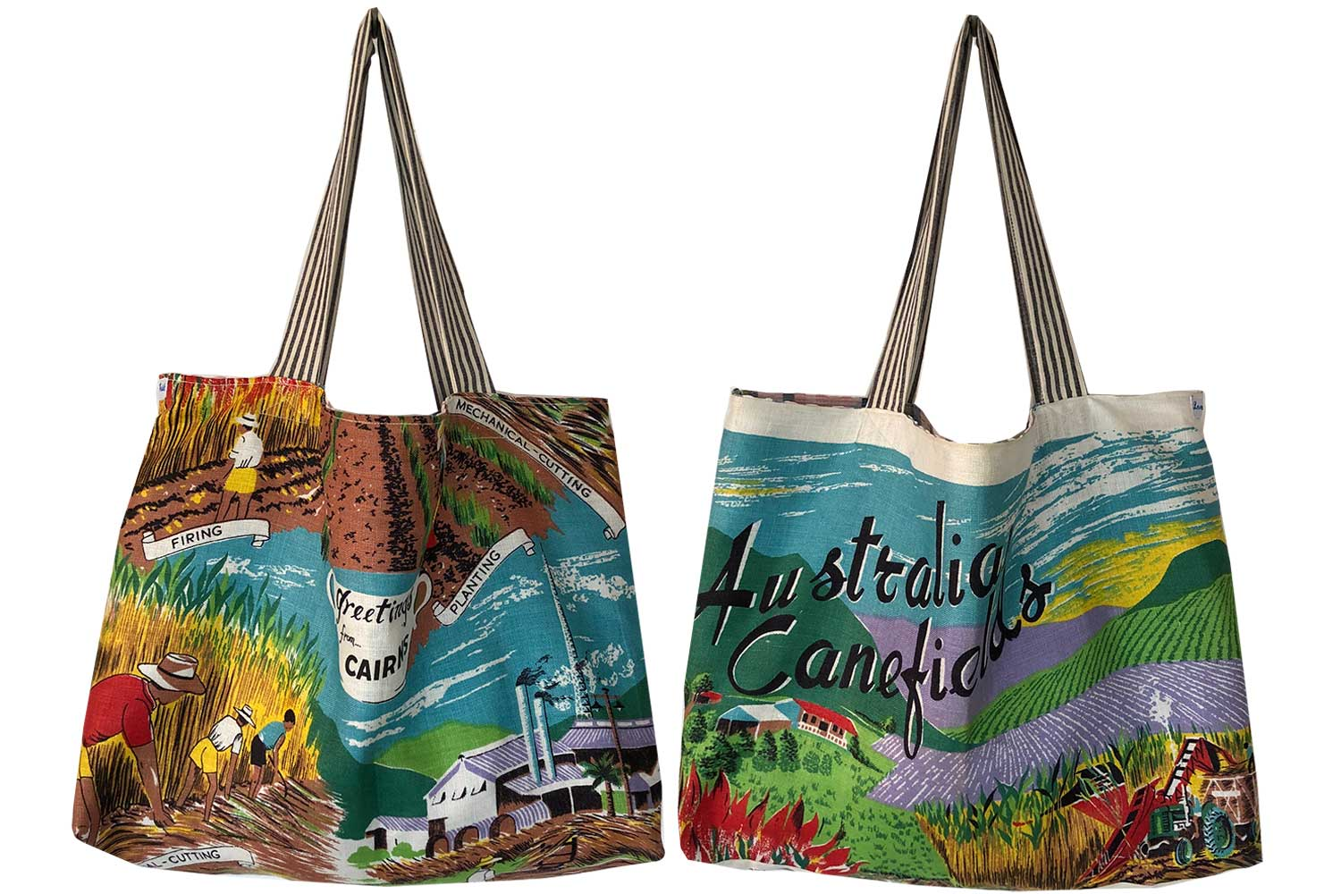 Greetings from Cairns canefields teatowel tote