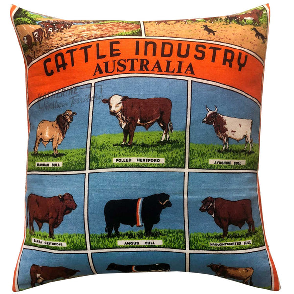 Cattle industry of Australia vintage linen teatowel cushion cover