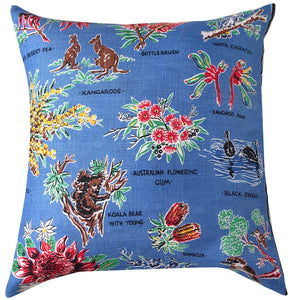 Australian flora and fauna vintage linen teatowel cushion cover