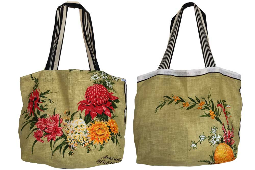 Australian wildflowers teatowel tote bag