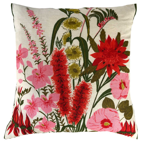 Australian wildflowers on vintage linen teatowel cushion cover. free post