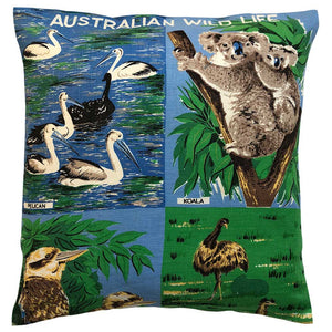 Australian wildlife souvenir teatowel cushion cover